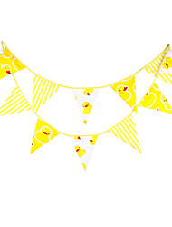 3.6m 12Flags Yellow Duck Banner Pennant Cotton Bunting Banner Booth Props Photobooth Birthday Wedding Party Decoration