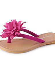 Women's Slippers & Flip-Flops Summer PU Outdoor Casual Flat Heel Flower White Black Fuchsia Blue