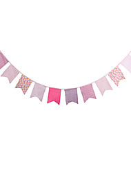 3.2m 12Flags Pink Patterns Banner Pennant Cotton Bunting Banner Booth Props Photobooth Birthday Wedding Party Decoration