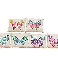 Set of 6 Beautiful Butterfly  pattern Linen Pillowcase Sofa Home Decor Cushion Cover