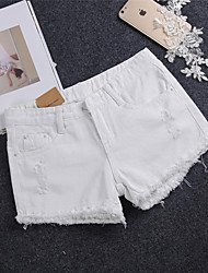 2017 Sign hole four-color low-waist fat m summer Slim was thin loose denim shorts hot flash