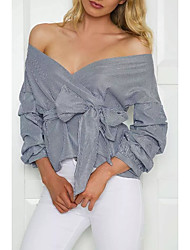 Women's Cut Out|Off The Shoulder Going out Casual/Daily Simple Street chic Spring Fall T-shirt,Solid Striped Strapless ¾ Sleeve Cotton Medium