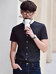 Summer men's short-sleeved shirt solid color shirt Slim models men's business casual clothing inch white teenagers
