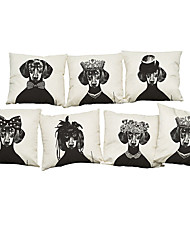 Set of 7 Retro dog  pattern  Linen  Cushion Cover Home Office Sofa Square  Pillow Case Decorative Cushion Covers Pillowcases