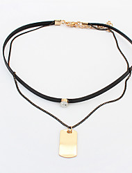 Women's Choker Necklaces Alloy Geometric Double-layer Fashion Gold Jewelry Casual 1pc
