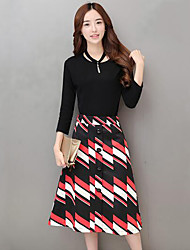 Women's Casual/Daily Simple Spring T-shirt Skirt Suits,Solid Striped Round Neck Long Sleeve Pleated Cotton Regular