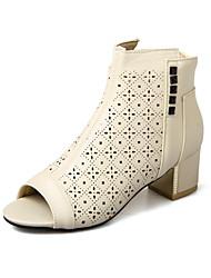 Damen-Stiefel-Büro Kleid Lässig-PU-Blockabsatz Block Ferse-Loch Schuhe-