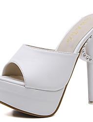 Women's Sandals Summer Club Shoes PU Dress Stiletto Heel Rhinestone