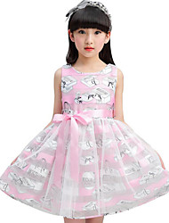 Girl's Casual/Daily Holiday School Solid Striped Print Dress,Cotton Polyester Summer Sleeveless