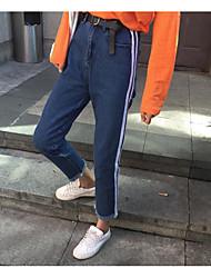 Assinar mulheres coreano de cintura alta jeans jeans reta jeans foi magro calças casual calças estudantes