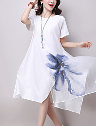 Women's Casual/Daily Street chic Ethnic Print Loose Dress Print Patchwork Knee-length Short Sleeve Cotton /Linen Summer