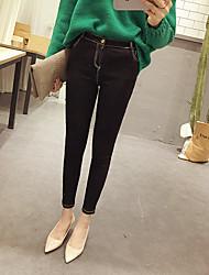 7 новая весна и лето белый автомобиль линия окантовки черные стрейч брюки ноги корейской версии случайных женщин&# 39, S брюки