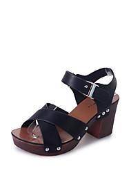 Sandals Summer Comfort PU Office & Career Casual Low Heel Buckle