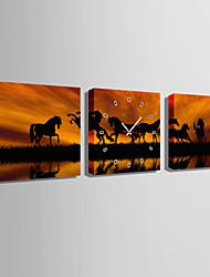 MINI SIZE E-HOME The Torse in The Sunset Clock in Canvas 3pcs
