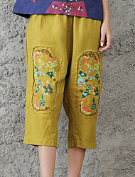 Real shot in summer 2017 new retro Chinese style cotton embroidered pocket 7 points casual pants pocket dig