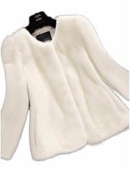Feminino Casaco de Pêlo Para Noite Casual Simples Sofisticado Inverno,Sólido Padrão Pêlo de Coelho Rex Lapela Chanfrada Manga Longa