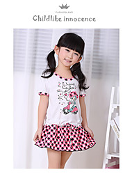 Girl's Casual/Daily Striped Dress,Cotton Summer Half Sleeve