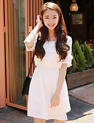 été coréen nouvelles femmes&# 39; doux petit linge de coton frais à manches courtes une ligne robe mince robe taille
