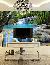 Art Deco Wallpaper For Home Wall Covering Canvas Adhesive Required Mural Colored Blue Landscape Waterfall Forest XXXL(448*280cm)