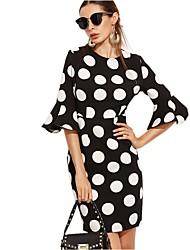 Moulante Robe Femme Sortie Vintage,Points Polka Col Arrondi Au dessus du genou ½ Manches Polyester Spandex Eté Taille Normale
