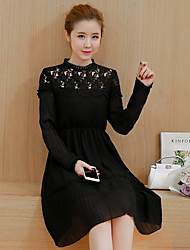 Sign 2017 spring new female long-sleeved lace dress chiffon pleated waist dress temperament