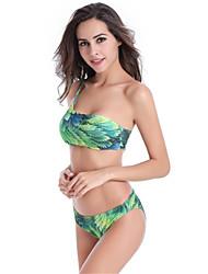 Women's Fashion Sexy Padded Printed Single Shoulder Nylon Spandex Bikinis