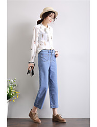 Denim wide leg pants female pantyhose Dongkuan loose straight waist wide leg pants Korean version of casual pants wide leg was thin