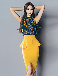 Korean version of the new summer dress sexy color stitching perspective package hip Slim sleeveless dress