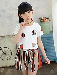 Girls' Casual/Daily Beach Sports Solid Polka Dot Striped Sets,Cotton Polyester Summer Short Sleeve Clothing Set