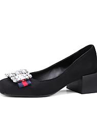 Damen-High Heels-Lässig-Kunstleder-Blockabsatz-Komfort-Schwarz Gelb Rot
