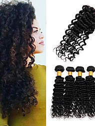 Vinsteen 8A Cuticle Peruvian Hair Bundles Deep Wave Hair Bundles with 4*4 inch Lace Closure Hair Weave 8-26inch Natural Color Human Hair Extensions