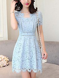 Women's Lace Slim chic A Line Lace Dress Solid Patchwork Cut Out V Neck Mini Short Sleeve Summer High Rise Micro-elastic Medium