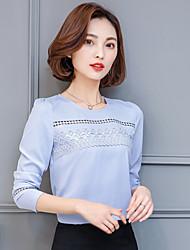 вокруг шеи с длинными рукавами рубашки шифон 2017 весной новый корейский дикий пассивом широкий песня Лейси маленькие рубашки блузки