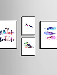 E-HOME® Framed Canvas Art Simple Color Animals And Feathers Theme Series Framed Canvas Print One Pcs