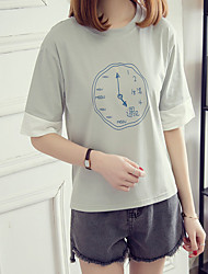 Really making 2017 spring and summer institute wind spell color loose, casual clock printing fifth sleeve T-shirt tide