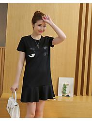 знак 2017 весной новая корейские моды шея с коротким рукавом платье больших ярды дна прилива