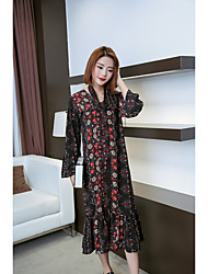 Sign loose chiffon floral dress fishtail long section V-neck cardigan sweater air conditioning