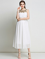 SUOQI Women's Going out Casual/Daily Holiday Sexy Loose Lace DressSolid Round Neck Sleeveless Spring Summer
