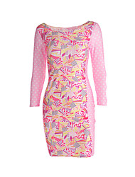 Women's Club Sexy Bodycon Dress,Floral Round Neck Midi Long Sleeve Polyester Spring Low Rise Micro-elastic Thin