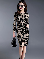 Women's Party Going out Sexy Bodycon Sheath Dress,Geometric Letter Round Neck Knee-length Long Sleeves Cotton Spring Summer Mid Rise