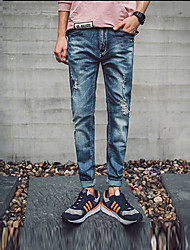 Men's Low Rise Micro-elastic Jeans Pants,Simple Slim Solid