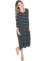 Women's 3/4 Sleeves Stripes Loose Fit Dress