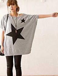 Billig neue Frühjahr koreanischen Stern Muster, um die Größe lose Baumwolle kurz-sleeved T-Shirt zu erhöhen