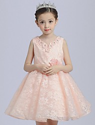 Ball Gown Short / Mini Flower Girl Dress - Organza V-neck with Appliques Crystal Detailing Flower(s)