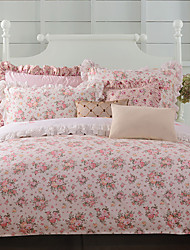 Turqua ROSES WHITE 100% Cotton Classic Bedding Set Duvet Cover Set 4pcs Including Comforter Case Pillowcase Flat Sheet