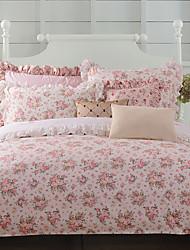 turqua roses branca 100% algodão conjunto clássico cama conjunto capa de edredão 4pcs incluindo caso cachecol folha plana fronha