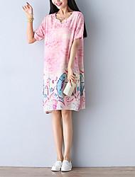 firmar Pankou mujeres del vestido de la impresión de algodón retro literarias&# 39; s suelta ropa de la falda de una línea de verano
