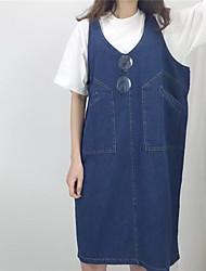 Venta de signo de euro ventilador coreano 2016 coreano nuevo orden es grande u-neck vestido de correa de bolsillo