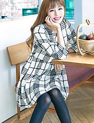 sinal de Outono nova coreano mulheres outono uma palavra saia pequena xadrez fresco estudante vestido de mangas compridas