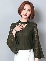 assinar 2017 mulheres&# 39; s camisa do laço camisa de mangas compridas babados líquido fios camisa de manga chifre oco